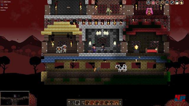 Mit Hilfe von Blaupausen kann man ganze Gebäude aufstellen und sich so einen Laden, eine Bank und einiges mehr in seine Spielwelt holen.