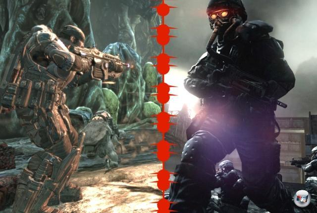 <b>Killzone 2 vs. Gears of War 2:</b><br><br>Killzone 2, ach Killzone 2. Das Spiel, von dem uns Sony 2005, also noch mitten in der PS2-Hochphase, anhand eines Videos allen Ernstes aufschwatzen sollte, dass das wirklichwirklich<i>wirklich</i> Ingame-Grafik sei. Tjaja. Nachdem schon das Killen von Halo nicht so recht klappen wollte, musste im Laufe der Zeit eben das aus dem Nichts kommende und mal eben fast alles wegrockende Gears of War samt seinem Nachfolger dran glauben. Hat's geklappt? Die Antwort darauf findet ihr gerade live in unserem Forum. 1906533