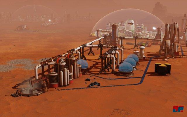 Auf der Marsoberfläche müssen zunächst die Grundlagen geschaffen bzw. errichtet werden, damit später dort Menschen leben können.
